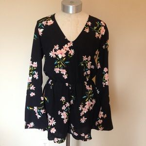 UO pins and needles Floral romper keyhole back